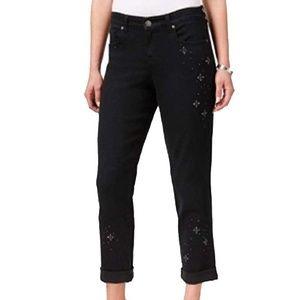 Style & Co Curvy Jeans Embellished Boyfriend Fit